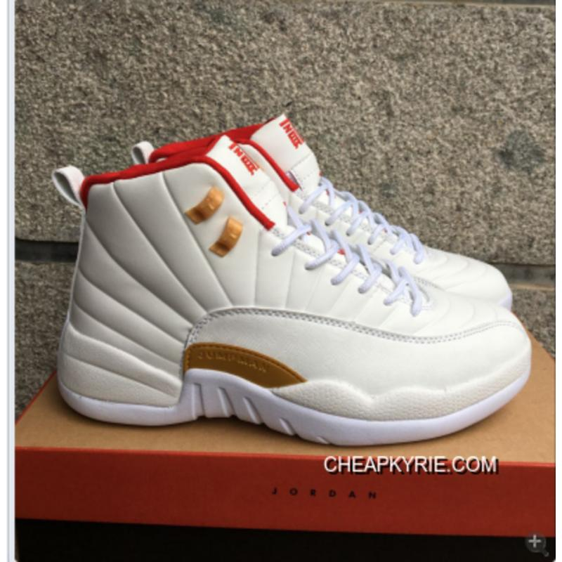 "... Air Jordan 12 ""CNY"" White Red Gold Mens Basketball Shoes Online ..."