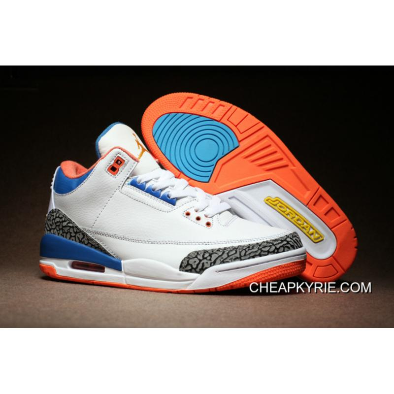 meet f1654 ce61c Air Jordan 3 White Cement True Blue Orange For Sale