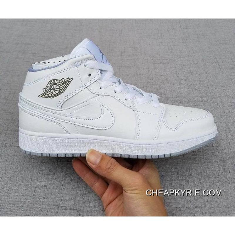 Air Jordan 1 Mid Gs White White Wolf Grey For Sale Price 87 22 Cheap Kyrie Shoes Online Free Shipping