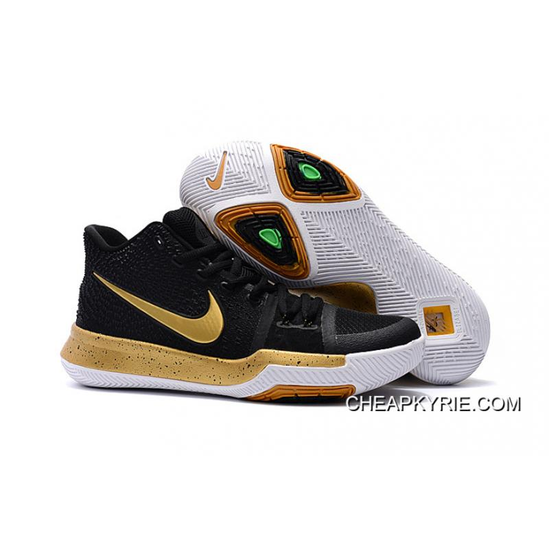 Girls Nike Kyrie 3 Black Gold White Top Deals