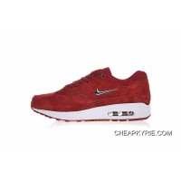 2018 New Release Women Shoes And Men Shoes Nike Sportswear Air Max 1 Premium SC Small Hook Version Series Jogging Shoes Wine Red Liquid Silver Hook 918354-600