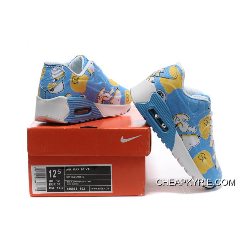 Nike AIR MAX 90 KID Hyperfuse White Blue Top Deals ...