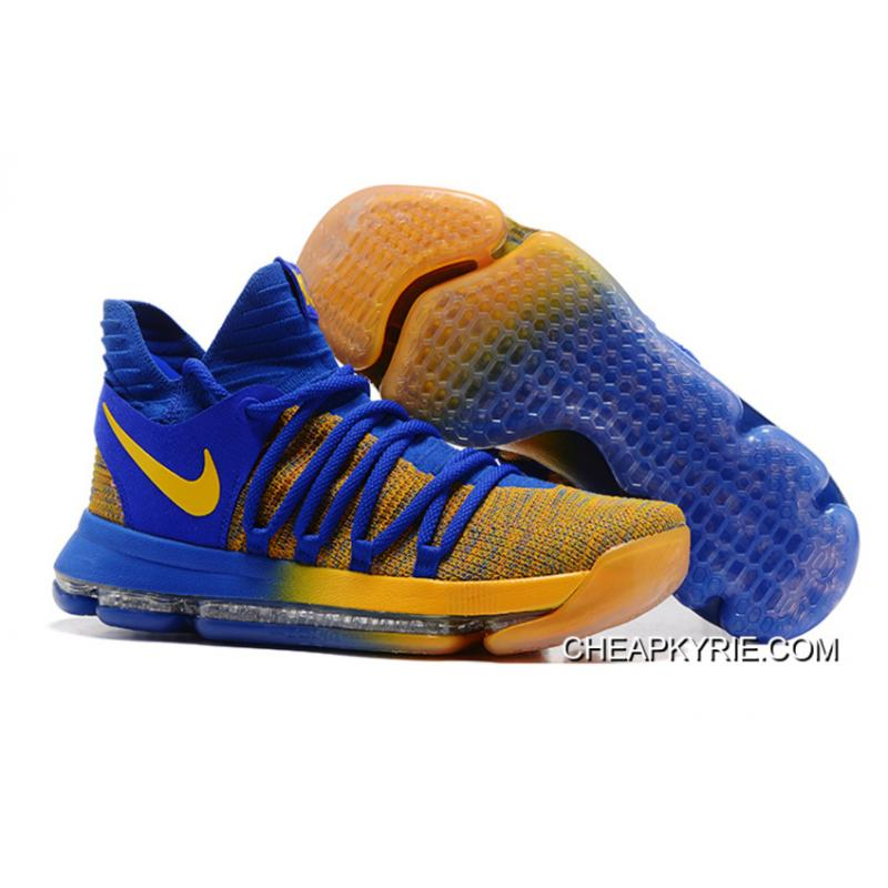New Year Deals Nike KD 10 Warriors Away Royal BlueYellow