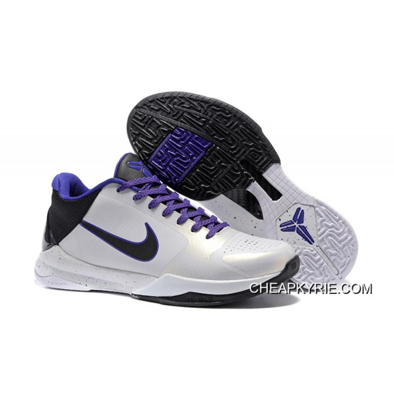 Nike Zoom Kobe 5 White Black Purple Super Deals