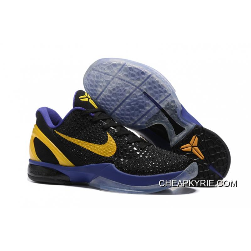 89eac6377337 Nike Zoom Kobe 6 Black Purple Yellow Basketball Shoes Online ...