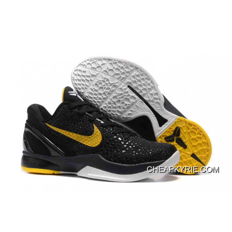 Nike Zoom Kobe 6 Black Yellow Basketball Shoes Discount