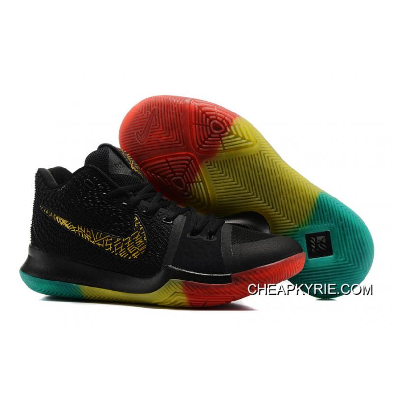 "50596e413b7 Nike Kyrie 3 ""Rainbow"" Black Gold Pink Grass Green Colorful Lastest ..."