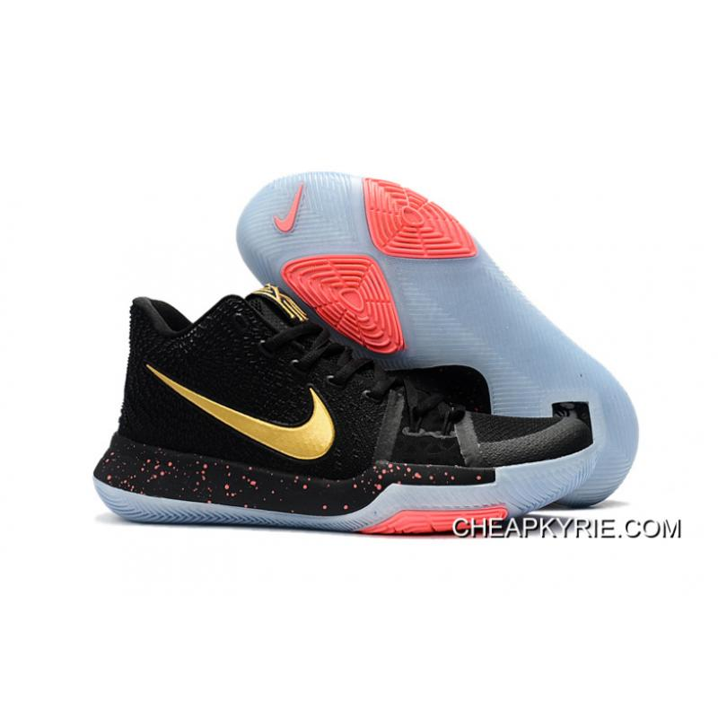 new style 5f726 cce16 Discount Nike Kyrie 3 Black Metallic Gold-Hot Red Cheap To Buy ...