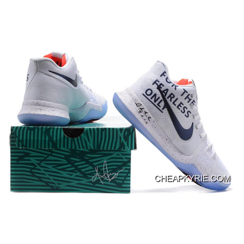 """designer fashion 6cee7 9eaaf New Arrival Nike Kyrie 3 """"For The Fearless Only"""" White Black ..."""
