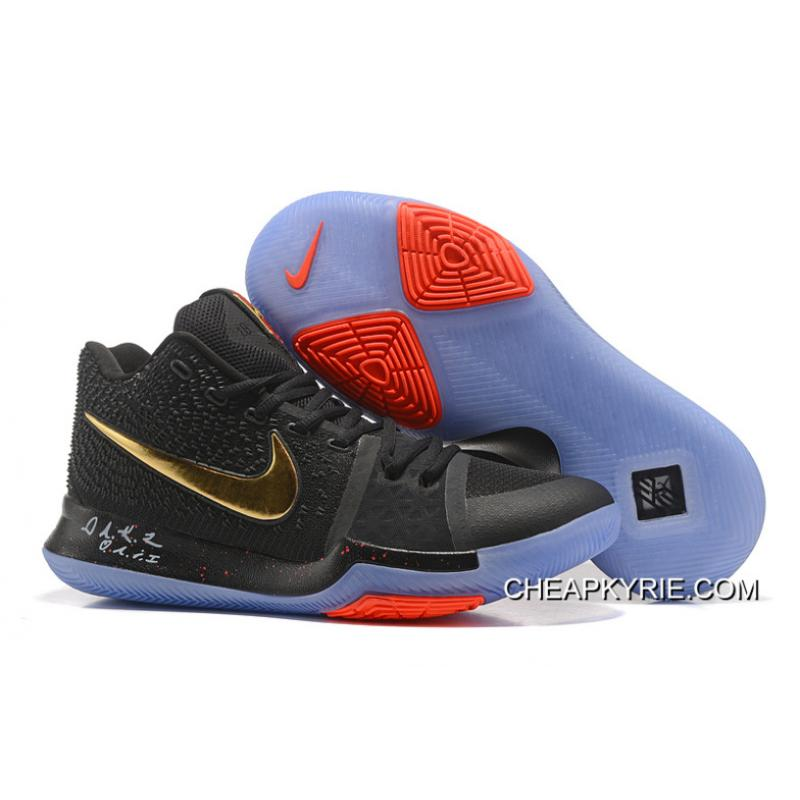 fafaa250c720 New Released Nike Kyrie 3 Black Gold Red NBA Finals High Quality Discount  ...