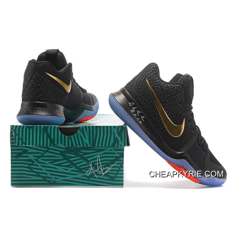 fbb1836ffa4 ... New Released Nike Kyrie 3 Black Gold Red NBA Finals High Quality  Discount