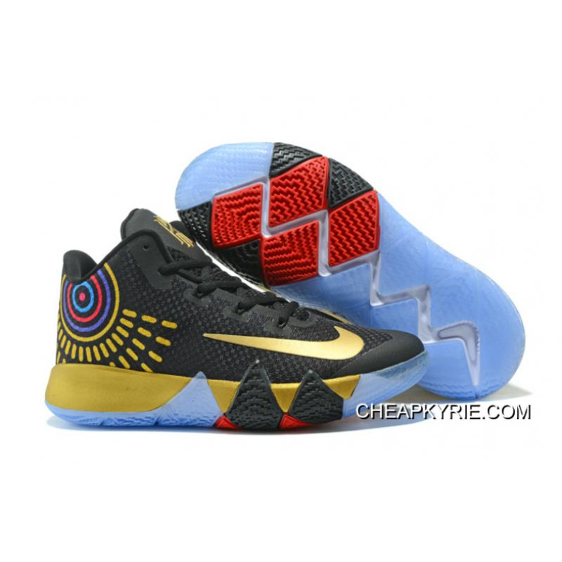 """new arrival 98982 8b456 Nike Kyrie 4 """"Black Gold""""Basketball Sneakers Super Deals"""