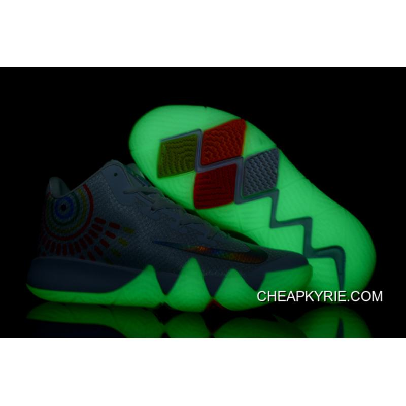 """free shipping efd80 e7a58 ... Latest Nike Kyrie 4 """"Iridescent Swoosh"""" Glow In The Dark Soles"""