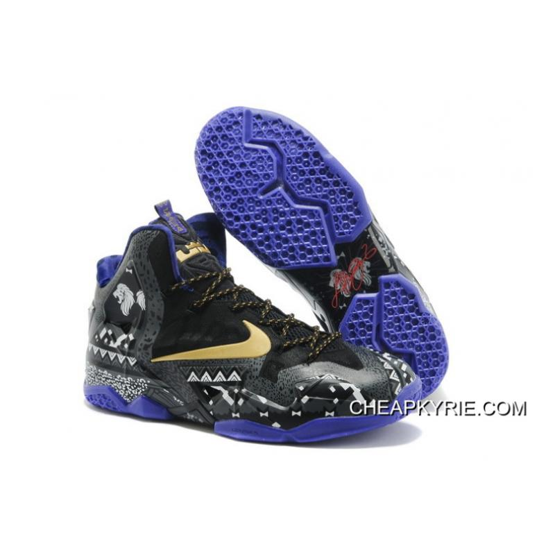 "Nike LeBron 11 ""BHM"" Anthracite/Metallic Gold-Purple Venom Free Shipping ..."