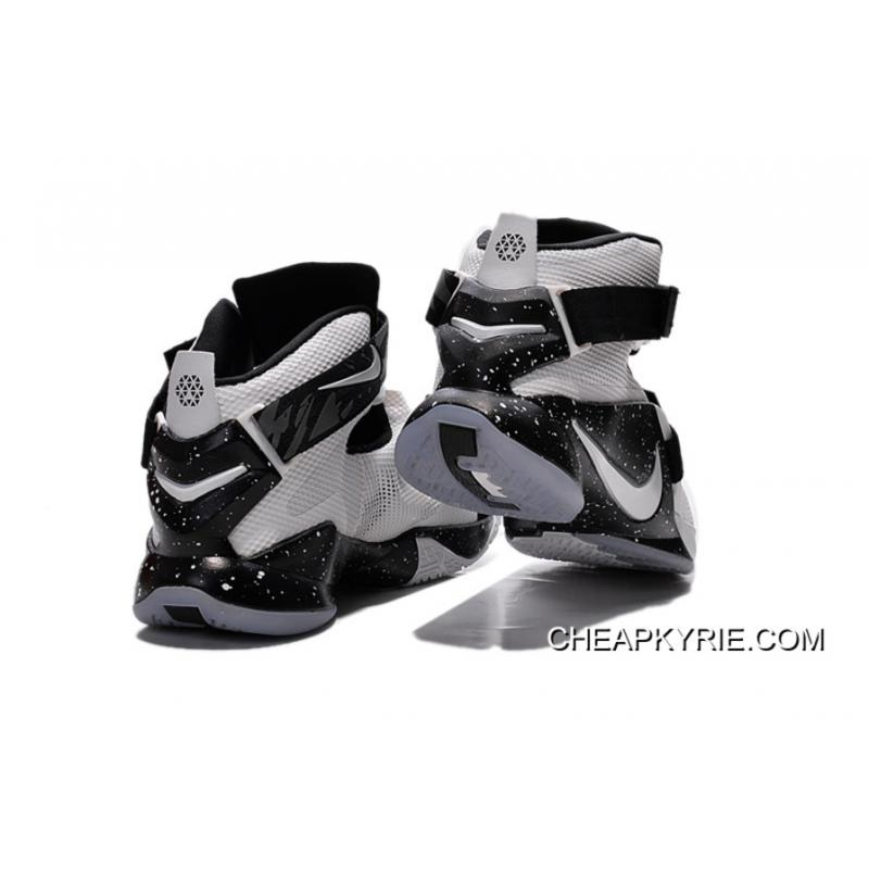 972466fdcc086 ... Nike LeBron Soldier 9 White Black Basketball Shoe Lastest ...