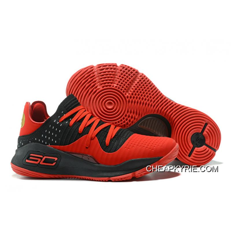 Under Armour Curry 4 Low Red Black Basketball Shoes Super Deals