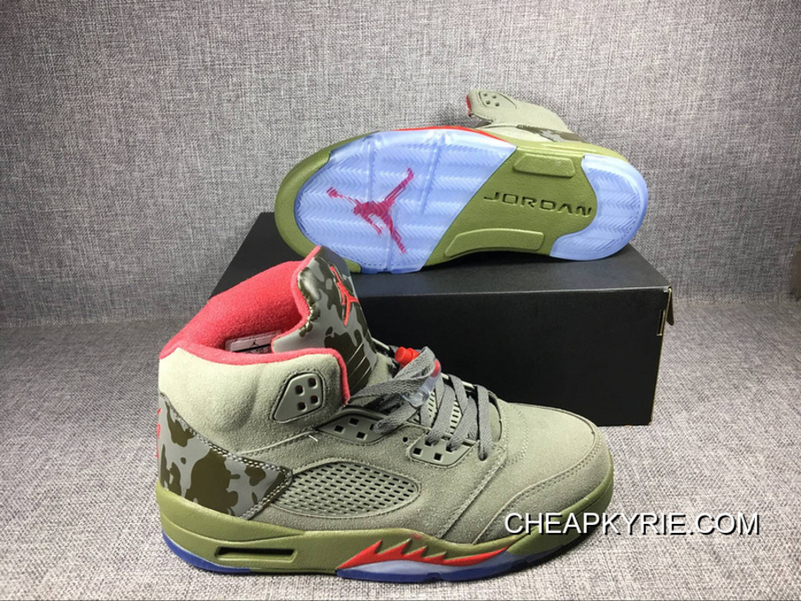 Brand Air Jordan 5 Camo OliveGreyFire Red Sale New Style