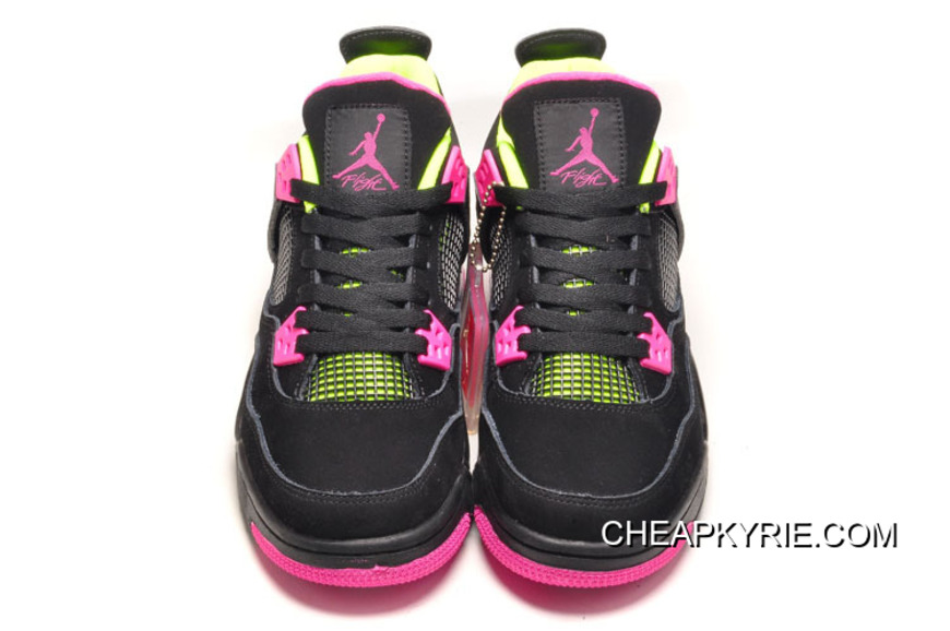 Air Jordan 4 GS Black Suede Light Green Pink New Release 4418a0f5e