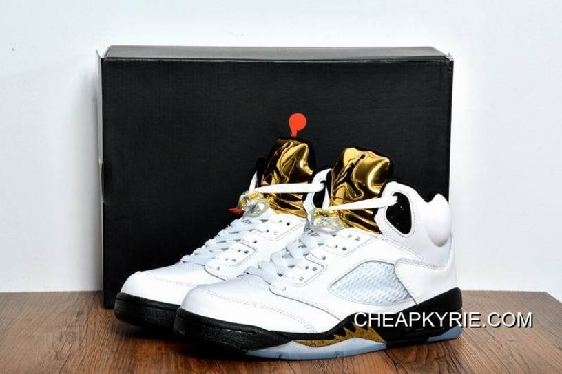 Air Jordan 5 Olympic Gold Medal WhiteBlackMetallic Gold Coin Best