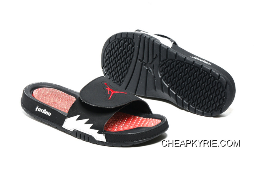 1be48b37521 Air Jordan Hydro 5 Black Red White Slide Sandals Best, Price: $68.53 ...