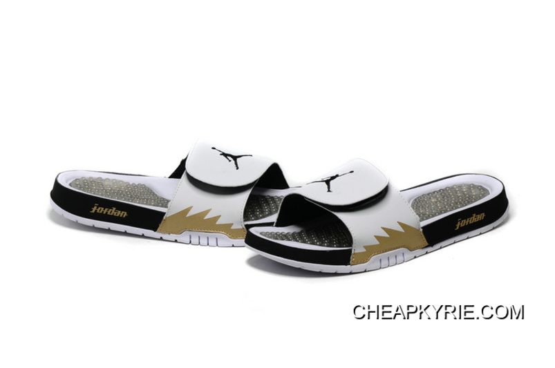 half off 27cb7 fa127 Air Jordan Hydro 5 White Black Gold Slide Sandals Discount