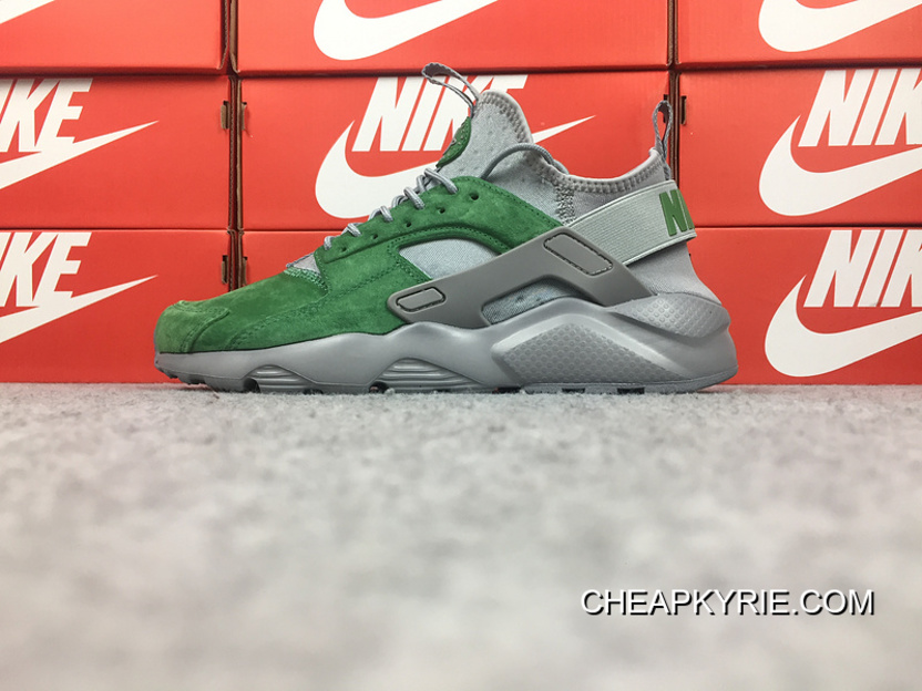bc0e67b8f Nike Air Huarache 4 Texture Pig Leather Series Ultra Id Customized Grey And  Green 829669-