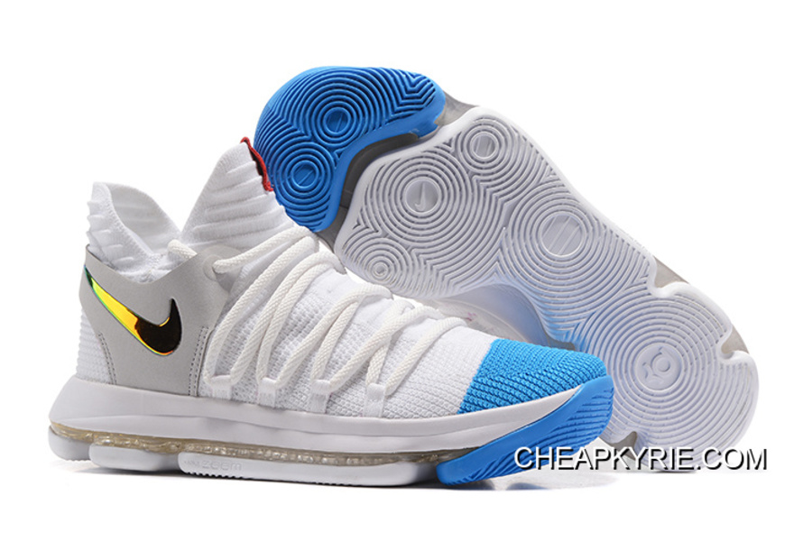 Best Nike KD 10 Blanc Bleu Or, Price: Cheap Kyrie Chaussures