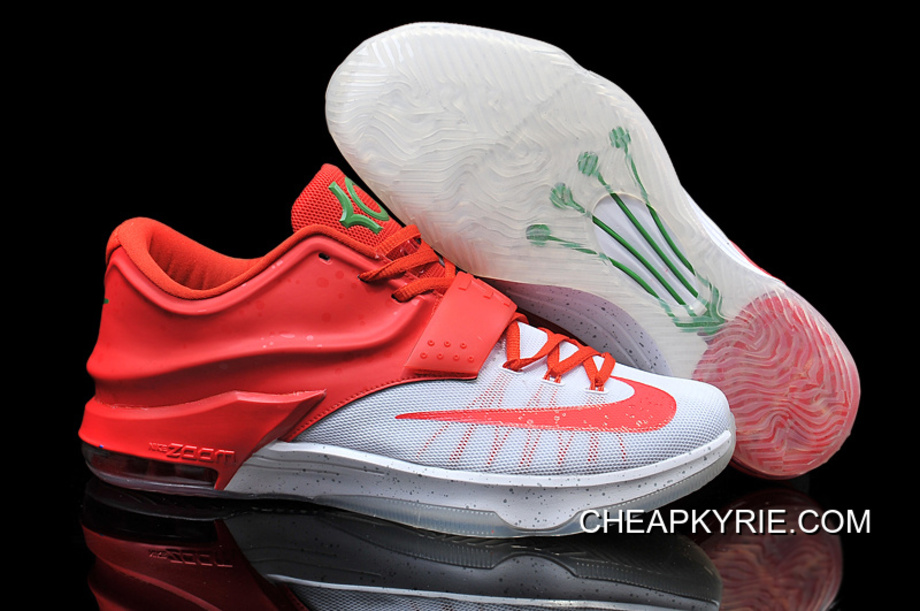 "new style 31a2d 2ee4c Nike Kevin Durant KD 7 VII ""Christmas Egg Nog"" White Red Online Cheap"