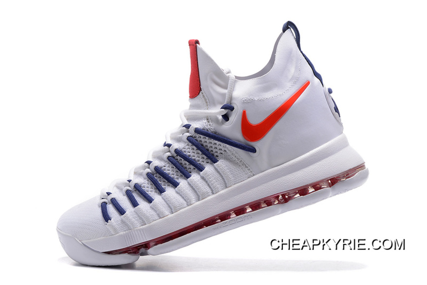 promo code 8f4f8 3e92b Nike Zoom KD 9 Elite White Dark-Blue Orange Lastest