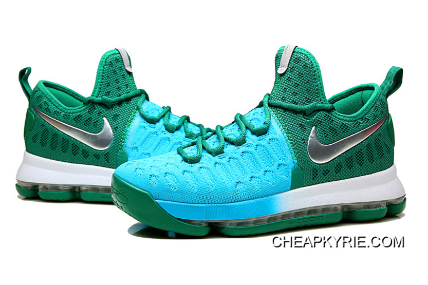 finest selection 60ff2 d21ae Nike KD 9 Green Light Blue-Silver New Release
