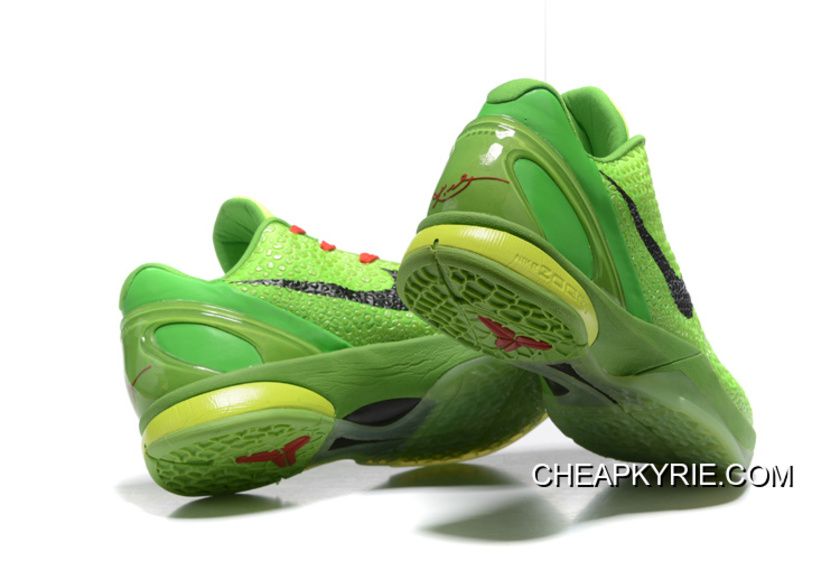 47c815962a79 Nike Zoom Kobe 6 Grinch Christmas Green Mamba Basketball Shoes For Sale