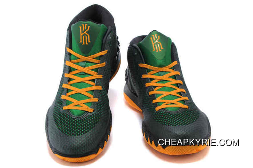c5e6933562ba Authentic Nike Kyrie 1 Shoes Black Pine Green Yellow Best