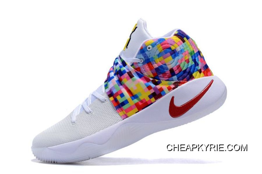 """brand new 2132b 5a16e Nike Kyrie 2 """"Effect"""" White-Red Multi-Color Best"""
