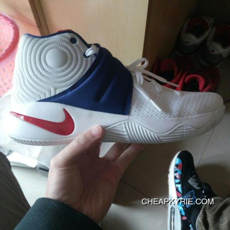 online store 4e5e9 103a1  4th Of July  Nike Kyrie 2 White University Red-Deep Royal Blue