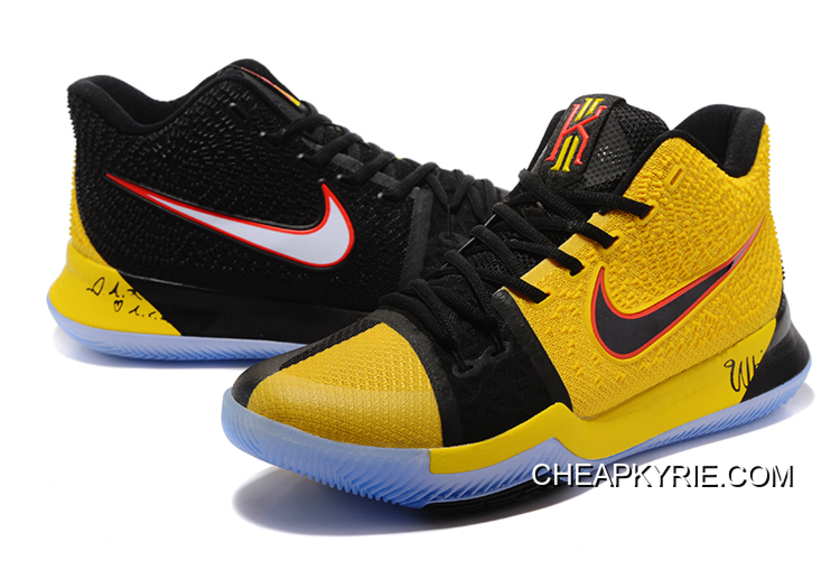 Nike Kyrie 3 NBA Finals PE Black Yellow Men Sneakers Online Authentic 12c8815ef