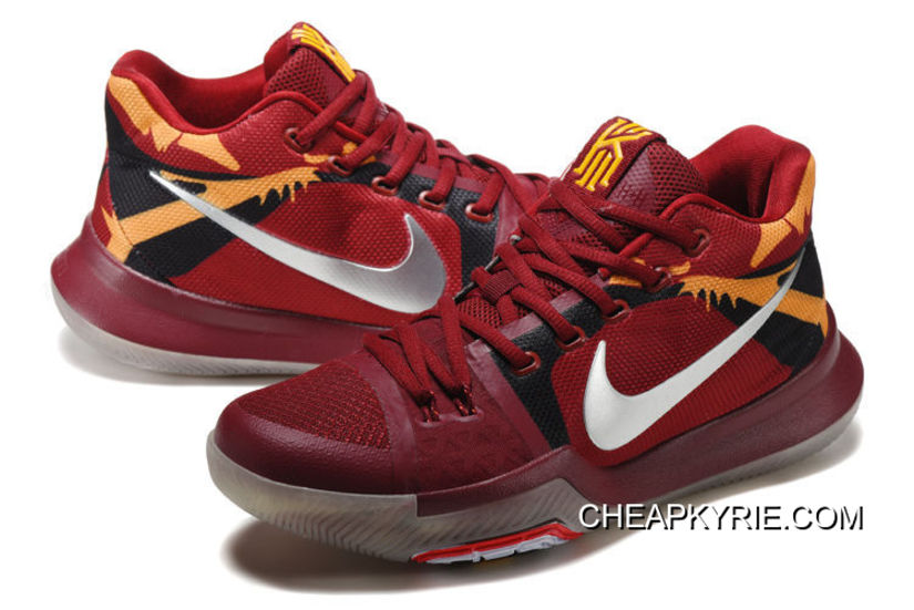 "Nike Kyrie 3 ""Cavs"" Red Yellow Silver Glow In The Dark Sole Online ... 2ee8f334d"