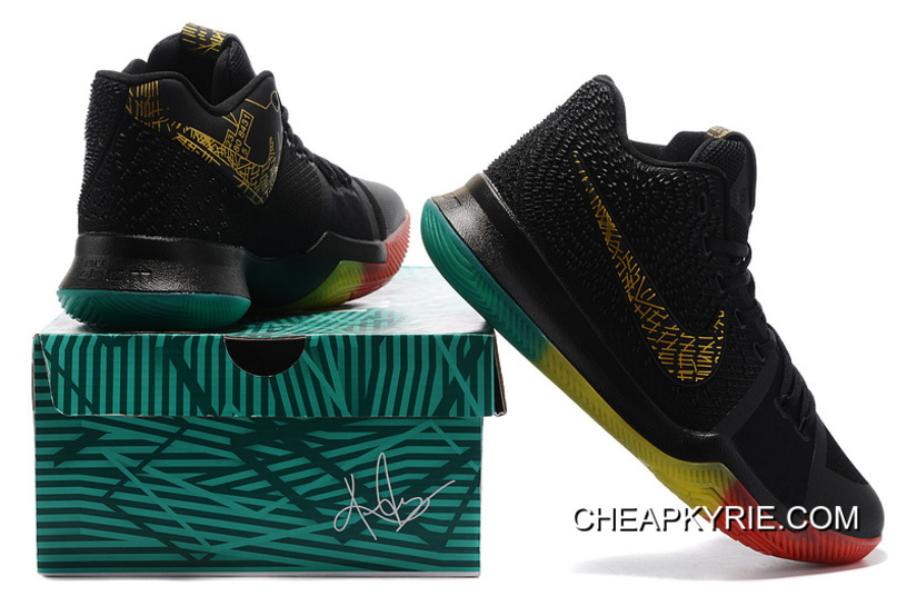 """f92d8115e9f3 Nike Kyrie 3 """"Rainbow"""" Black Gold Pink Grass Green Colorful Lastest ..."""