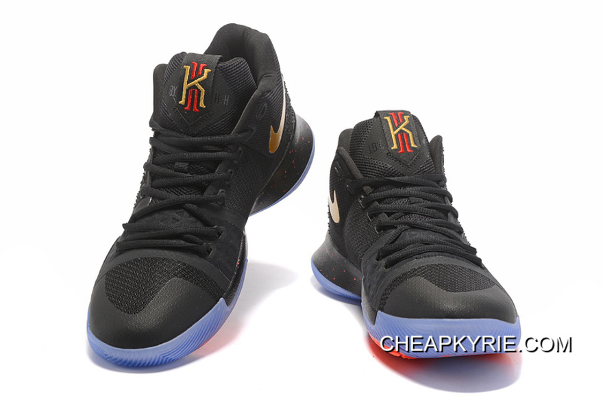 quality design 542a2 be8f8 New Released Nike Kyrie 3 Black Gold Red NBA Finals High Quality Discount