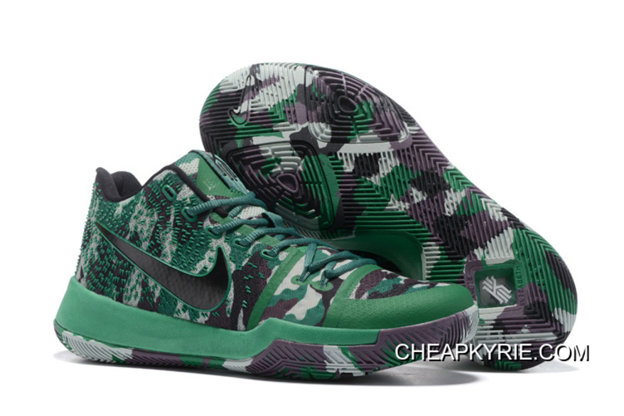 """Disturbio Fraternidad inflación  Wholesale Nike Kyrie 3 """"Camo"""" Green Black Sneakers On Sale Super Deals ,  Cheap Kyrie Shoes Online - Free Shipping"""