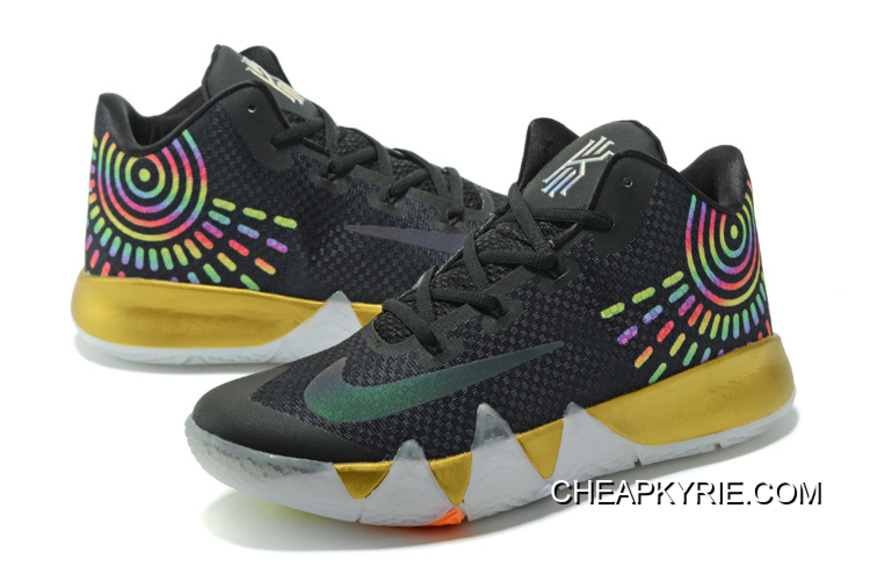 e44285739a88 Nike Kyrie 4 Mens Basketball Shoes Black Gold Authentic