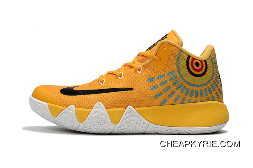 pretty nice dda08 15f8d Nike Kyrie 4 Yellow White/Black Basketball Shoes On Sale Lastest