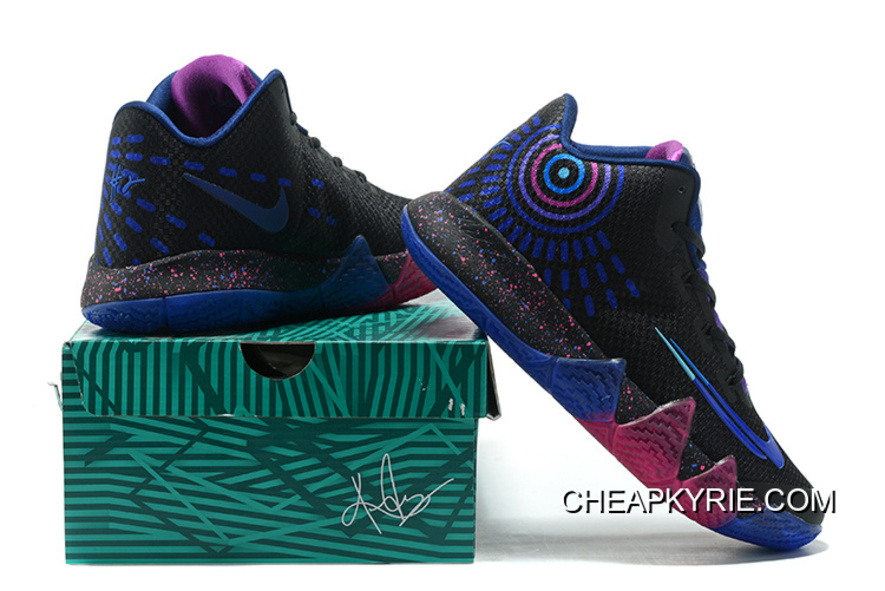 "02672013e26208 New Release Nike Kyrie 4 ""Flip The Switch"" Black Photo Blue Free Shipping"