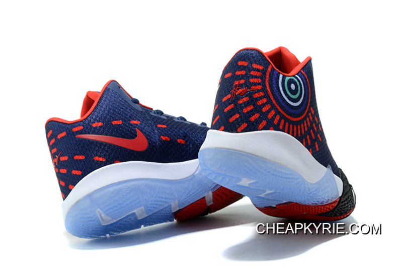 5b2d10f58e1 Newest Nike Kyrie 4 Navy Blue Red White High Quality Discount