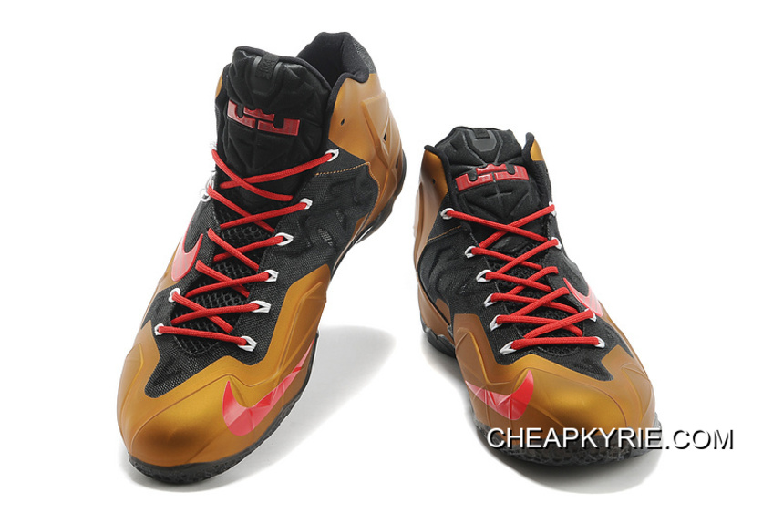 new concept 6bd95 c350e Nike LeBron James 11 Metal Gold/Black Red New Release