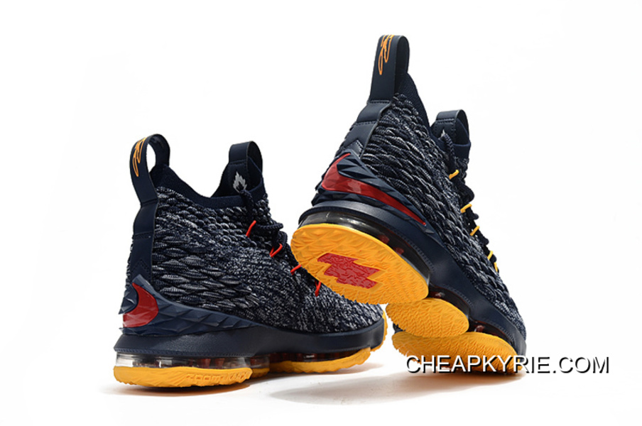 75d1c01a59f3c1 New Style Nike LeBron 15 Navy Blue Yellow-Red