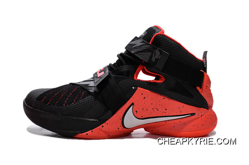683f09ed0cf Nike LeBron Soldier 9 Black Red Basketball Shoe Cheap To Buy