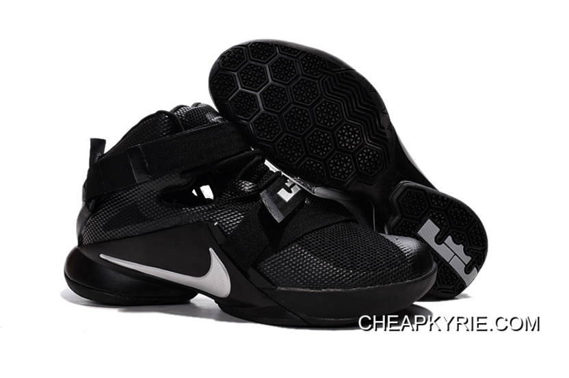 "1f3012077c1 Nike LeBron Soldier 9 ""Blackout"" All Black Basketball Shoe Lastest ..."